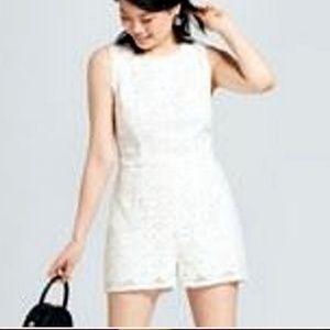 White Sleeveless Back Tie Lace Shorts Romper